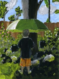 "Daily Paintworks - ""Grandson with Rainbrella (2nd version)"" - Original Fine Art for Sale - © Kali Parsons - Acrylic - Figurative - Umbrella - kaliparsons.com"