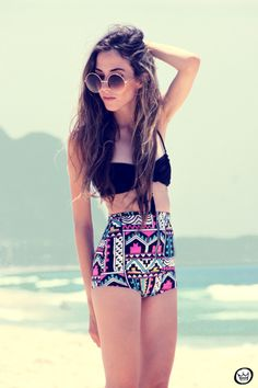 This style maybe not the exact suit. High Waisted Tribal Print and Black Swimsuit