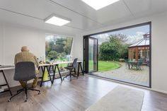 For the perfect office setting, what is better than one of our garden rooms? The team created this stunning garden office to the clients' exact preferences. Garden Office, Workshop, Green, Table, Furniture, Home Decor, Atelier, Decoration Home, Room Decor