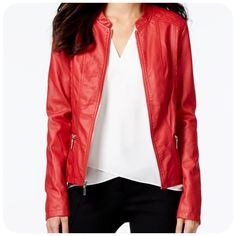 Alfani Red Leather Jacket❤️ Dressy, Casual & Classy Alfani faux-leather style with quilted side panels. New without tags. Band collar, Zipper closure at front, Long sleeves, Zipper pockets at hips, Quilted detail at shoulders and sides, Fitted, Lined. Hits at high hip; approx. 20 inches long. Shell: faux leather; lining/fill: polyester. Alfani Jackets & Coats