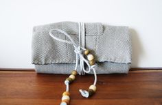 Grey Herringbone Trifold Clutch Wallet with by Singsthesparrow, $45.00
