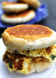 Healthy Biscuit Breakfast Sandwich with Baby Spinach and Mozzarella Sundried Tomato Cheese