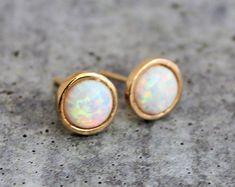 Opal stud earrings , White opal earrings , Gold Stud Earrings , October birthstone earrings , opal studs , bridesmaid gift , opal jewelry ,