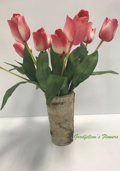 Silk Faux Ombre Pink and White Tulip Flower Arrangement in a Birch Vase White Tulips, Tulips Flowers, Flower Arrangement, Floral Arrangements, Birch, Unique Jewelry, Handmade Gifts, Vase, Silk
