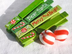 CHRISTMAS CLOTHESPINS hand painted magnetic pegs by SugarAndPaint, $10.00
