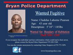 Cludelus Pearson wanted for Burglary of Hab