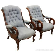 Pair Of Mid Victorian Mahogany Armchairs - Antiques Atlas