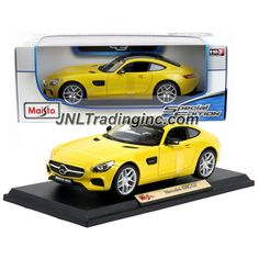 "Maisto Special Edition Series 1:18 Scale Die Cast Car - Yellow Sports Coupe MERCEDES BENZ AMG GT with Display Base (Dimension: 9-1/2"" x 4"" x 2-1/2"")"