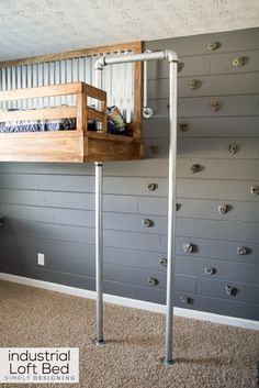Build Your Own Loft Bed with Rock Climbing Wall and Foremans Pole