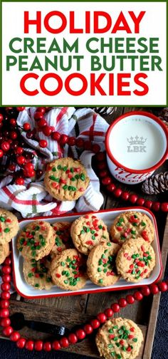 Nostalgia gets an update with these Holiday Cream Cheese Peanut Butter Cookies. Take a classic peanut butter cookie and add cream cheese to get a lighter, flakier, tastier update on your favourite childhood cookie. #holiday #christmas #baking #peanutbutter #creamcheese #cookies #sprinkles Making Peanut Butter, Classic Peanut Butter Cookies, Peanut Butter Cookie Recipe, Ginger Cookies, Cookie Recipes, Anise Cookies, Cherry Cookies, Keto Cookies, Christmas Recipes