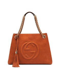 V1XWB Gucci Soho Nubuck Leather Shoulder Bag, Black