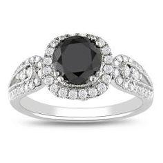 Miadora 14k Gold 1 1/2ct Tdw Black And White Diamond Halo Ring (g-h, I2)