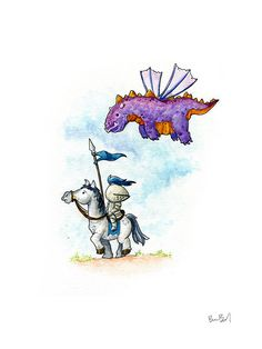 Purple Dragon Watercolor Print by BenByrdArtwork on Etsy