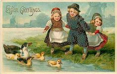 Easter 1908 Dutch Children Watch Ducks Swimming Vintage Gold Embossed Postcard