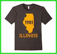 Mens Born In 1981 Illinois T-shirt 36th Birthday 3XL Asphalt - Birthday shirts (*Amazon Partner-Link)