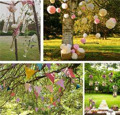 Decoración para árboles en tu boda: pompones, banderines, farolillos...