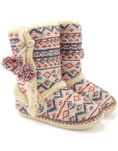 diamond fairisle slipper boot  @ accesorize.com