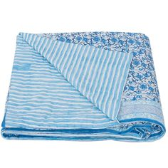 This hand-block printed design is fully reversible, with a delicate blue vine print and floral nautical stripe design on the back. They are super soft and machine washable - meaning they're beautiful and practical, too!  These natural, breathable cotton quilts are great in the summer by themselves, or to add an extra layer of warmth in the winter - they look stunning draped over the end of the bed, or sofa.    100% reversible cotton voile  hand block printed  hand quilted natural, cotton… Quilt Bedding, Linen Bedding, Cotton Quilts, Hand Quilting, Stripes Design, Looking Stunning, Soft Furnishings, Kerala, Printed Cotton