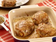 """Maple-Mustard Chicken Thighs from FoodNetwork.com - Ellie proves that white meat isn't the only """"good-for-you"""" part of the chicken. She uses bone-in chicken thighs and removes the skin, brushing the meat with a tangy glaze."""