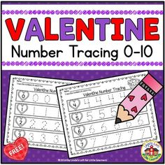 Provide extra practice for number writing and formation with Valentine Number Tracing Printables. This resource would work well as a small group activity, in a writing or math center, or for morning work. Teaching Numbers, Numbers Kindergarten, Writing Numbers, Teaching Math, Kindergarten Units, Abc Tracing, Number Tracing, Valentines Day Activities, Valentine Craft