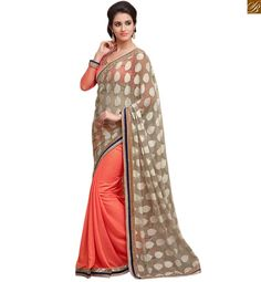 Beige-pink georgette-chiffon embroidered saree with lace border work and Pink art-silk blouse