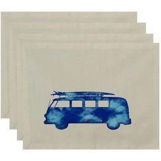Simply Daisy 18 inch x 14 inch BeachDrive Geometric Print Placemat, Blue