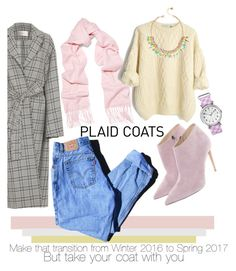 """Plaid Coat"" by charisloves ❤ liked on Polyvore featuring Zimmermann, Equipment, Levi's, Ralph Lauren, Lilly Pulitzer and Timex"