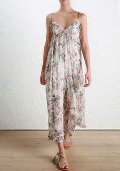 4d1e5fa360f Black and purple cotton and linen floral jumpsuit from Zimmermann.