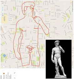 """Stephen Lund, from Victoria, B., creates city-sized """"doodles"""" using his bike and a GPS-tracking app. Lund, Gps Tracking, Canadian Artists, Map Art, This Man, Urban Art, Street Art, Street View, Funny Pictures"""