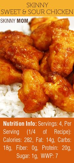 Skinny Sweet & Sour Chicken is one of Skinny Mom's MOST POPULAR recipes! Cooking Asian cuisine can be intimidating for some - but this recipe is super easy and absolutely, mouth-watering good! = yum!