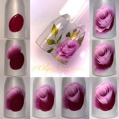 Для Вас мои дорогие 🌹❤️🌹Девочки шагов было больше,но колладж больше 9 фото не допускает😤,поэтому только так🙂#учимсярисовать#мкolgayurchanka… Kawaii Nail Art, Cute Nail Art, Nail Art Diy, Easy Nail Art, Cute Nails, Uñas One Stroke, One Stroke Nails, Nail Art Pastel, Floral Nail Art