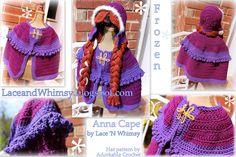 Brilliant Image of Free Crochet Cape Patterns Free Crochet Cape Patterns Lace And Whimsy Free Crochet Pattern Frozen Anna Cape Costume Anna Cape, Crochet Girls, Crochet For Kids, Free Crochet, Crochet Hats, Crochet Ideas, Chunky Crochet, Knit Crochet, Frozen Crochet Hat