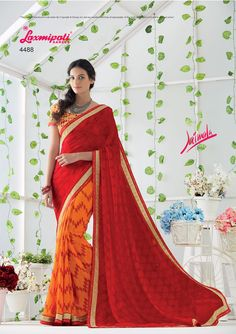 Choose this Perfect Orange & Red Georgette Saree from Laxmipati at an Upcoming Special Occasion. Laxmipati Sarees, Lehenga Saree, Georgette Sarees, Sari, Fancy Sarees, Party Wear Sarees, Printed Sarees, Saree Collection, Orange Red