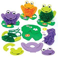 Baker Ross Frog & Lily Pom Pom Kits for Children to Decorate - Make Your Own Creative Spring Craft Set for Kids (Pack of Mummy Crafts, Frog Crafts, Halloween Crafts, Winter Crafts For Kids, Spring Crafts, Kids Crafts, Toilet Paper Roll Crafts, Paper Crafts Origami, Art Lessons For Kids