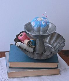 Sewing Supplies Desk Organizer with Pin Cushion made from Repurposed materials. $55.00, via Etsy.
