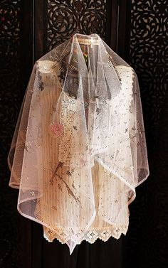 silver wire embroidered vintage bridal veil in by silkroaddream, $210.00