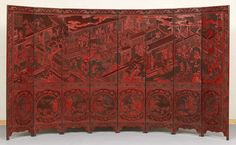 Museum Quality Chinese Cinnabar Lacquer Eight Panel Screen dated 1777. Great condition and quality.