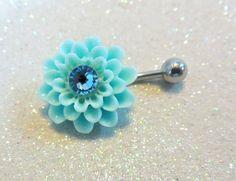 Blue dahlia flower belly ring, blue flower bellybutton jewelry 14 ga   YOUniqueDZigns - Jewelry on ArtFire