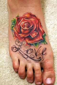Rose/Love Foot Tattoo