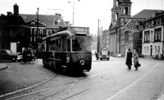 1955. A view of the Jonas Daniel Meijerplein with tram line 5 in Amsterdam. On the right the Mozes en Aäronkerk. The Jonas Daniel Meijerplein is a square named after Jonas Daniel Meijer, an influencial Jewish lawyer. Bordering the square is the Joods Historisch Museum. The Dokwerker monument on the square commemorates the February Strike of 1941 by many Amsterdam residents after deportation of 425 Jewish men from Amsterdam to Mauthausen and Buchenwald. #amsterdam #1955…
