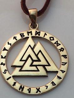 VALKNUT Norse Warriors Knot Pendant in gold tone bronze - Viking Rune Runic amulet