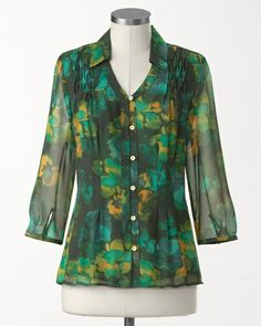 Great with dark wash bootcut jeans.  Curious if it's full in the bust.   Deep waters blouse #ColdwaterCreek