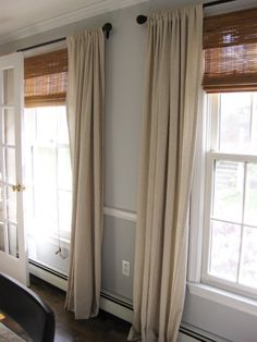 Natural Look Window Treatments Use Drop Cloth Fabric Matchstick Blinds Matte Black CurtainsLinen CurtainsDining Room