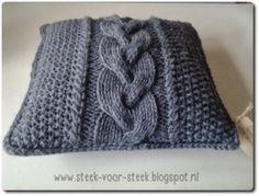 Kussenhoes met kabel breien | Steek voor steek