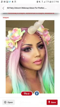 Best representation descriptions: DIY Unicorn Halloween Costume Makeup Related searches: Easy Unicorn Makeup,DIY Unicorn Costume,Easy DIY U. Looks Halloween, Cool Halloween Makeup, Halloween Party, Halloween Inspo, Scary Halloween, Scarecrow Makeup, Halloween Photos, Unicorn Halloween Costume, Hallowen Costume