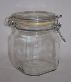 Vintage Fidenza Clear Glass Storage Canister Container ~ 3/4 L ~ Made in Italy #Fidenza