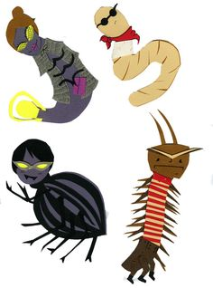 Glow-Worm, Earthworm, Spider, Centipede