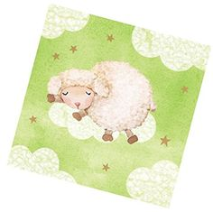 """camping theme napkins - Custom Made & Disposable {6.5"""" Inch} 16 Count of 3 Ply Mid-Size Size Square Food & Beverage Napkins, Made of Soft Absorbent Paper w/ Sage Sleeping Sheep Classic Baby Shower Party Style {Green& White} * Check out the image by visiting the link. (This is an affiliate link) #CampingIdeas"""