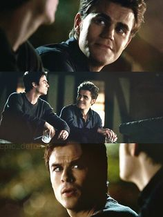 "Damon ""Don't give me that look."" Stefan: ""I'm not giving you a look."" Episode 100"
