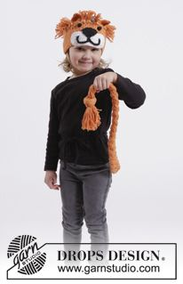 "DROPS Carnival: Crochet DROPS lion head band and plaited lion tail in ""Paris"". Size 1-10 years ~ DROPS Design"